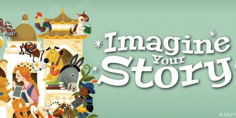 "Animals and people reading books beside the slogan ""Imagine your Story"""